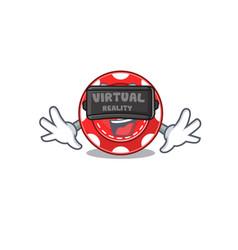 Trendy gambling chips character wearing virtual vector