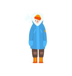 Warmly dressed boy outdoor leisure activity vector