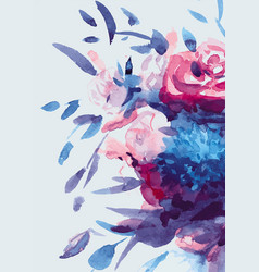 Watercolors bouquet of multicolored flowers vector