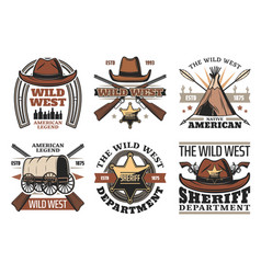 Wild west symbols with sheriff cowboy hat and guns vector