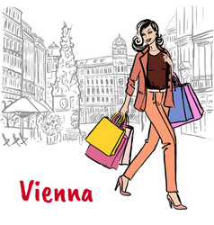woman with shopping bags in vienna vector image