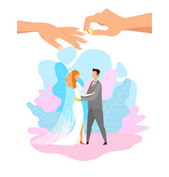 Young bride and groom hugging flat characters vector