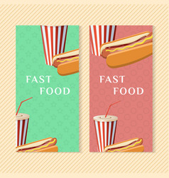 fast food banners with hot dog and soda cup vector image vector image