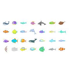 fish icon set cartoon style vector image