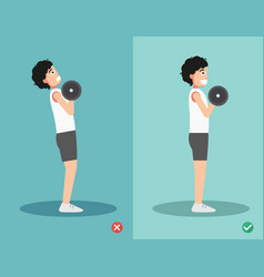 man wrong and right dumbbell curl posture vector image