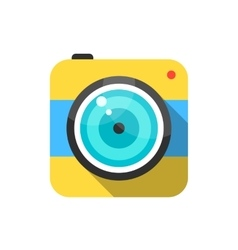 yellow and blue photo camera icon vector image