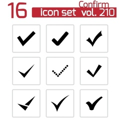 black confirm icons set vector image vector image