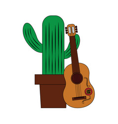 cartoon happy potted cactus with guitar vector image