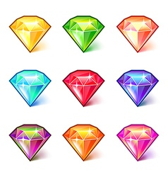 Colorful cartoon diamonds icons set vector image