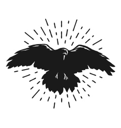 Flying crow silhouette vector image