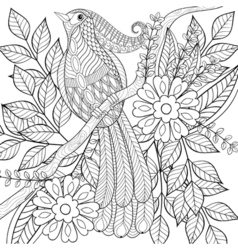 Hand drawn zentangle exotic tropical bird sitting vector image vector image