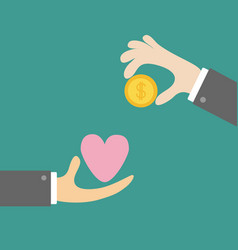 hands with heart and money gold dollar coin vector image vector image