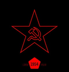 minimal red star with socialist symbols made of vector image vector image