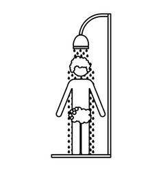 monochrome contour of man in the shower vector image