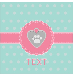 Pink ribbon and label with dogs pendant Card vector image vector image