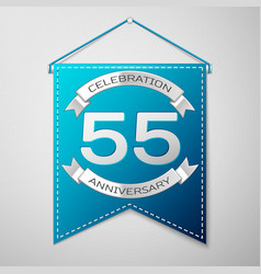 blue pennant with inscription fifty five years vector image vector image