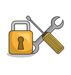 padlock secure tool design vector image