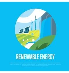 Renewable energy Sun water and wind power vector image vector image