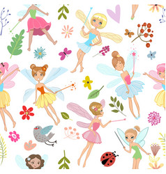 seamless pattern with cartoon fairies vector image vector image