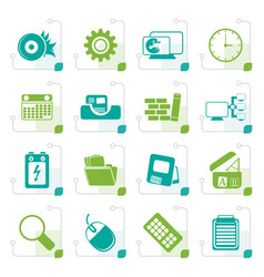 stylized computer mobile phone and internet vector image vector image