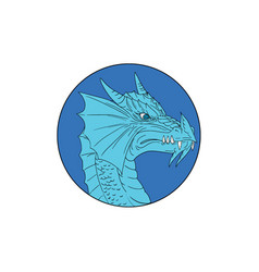 blue dragon head angry circle drawing vector image vector image