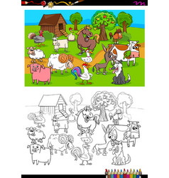 farm animals characters group color book vector image vector image