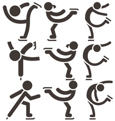 figure skating icons vector image