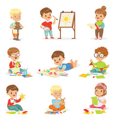 little kids in art class in school doing different vector image vector image