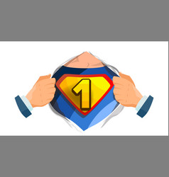 number one sign superhero open shirt with vector image vector image