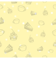 Seamless coffee and cake pattern vector image