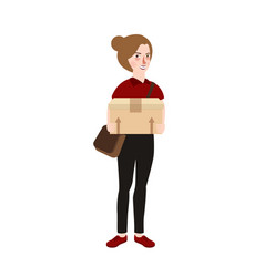 woman girl standing bring delivery box cardboard vector image vector image