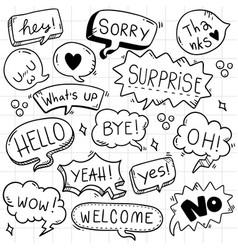 002 hand drawn background set cute speech vector