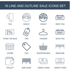16 sale icons vector image