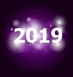 2019 happy new year on violet background vector image