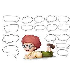 A boy and different shapes callouts vector