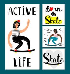 active life girl banners teenage vector image