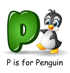 animals alphabet p is for penguin vector image