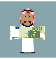 Arabian businessman with one hundred euro bill vector image
