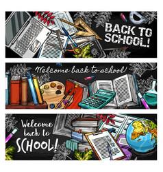 back to school education season sketch stationery vector image
