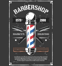 barbershop retro poster with old razor for shaving vector image