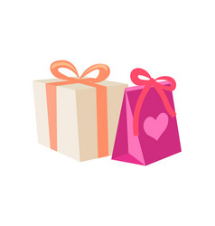 Birthday gifts in cartoon style vector