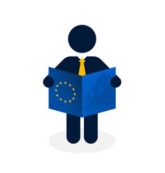 black figure with a yellow tie and blue european vector image