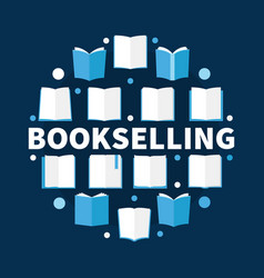 bookselling round flat - vector image
