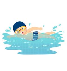 Boy swimming in pool vector