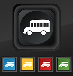 Bus icon symbol Set of five colorful stylish vector image