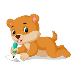 cartoon chipmunk holding pencil vector image