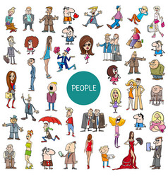 Cartoon people characters set vector