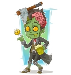 Cartoon pretty zombie with beer and axe vector