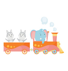 cartoon set with different animals on trains vector image