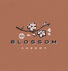 cherry blossom aesthetic vintage retro logo icon vector image